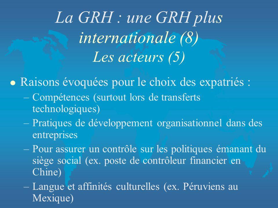 La GRH : une GRH plus internationale (8) Les acteurs (5)
