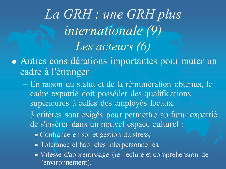 La GRH : une GRH plus internationale (9) Les acteurs (6)