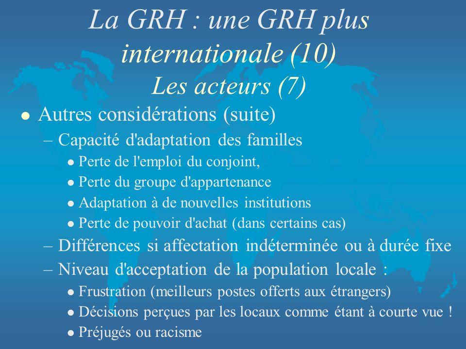 La GRH : une GRH plus internationale (10) Les acteurs (7)