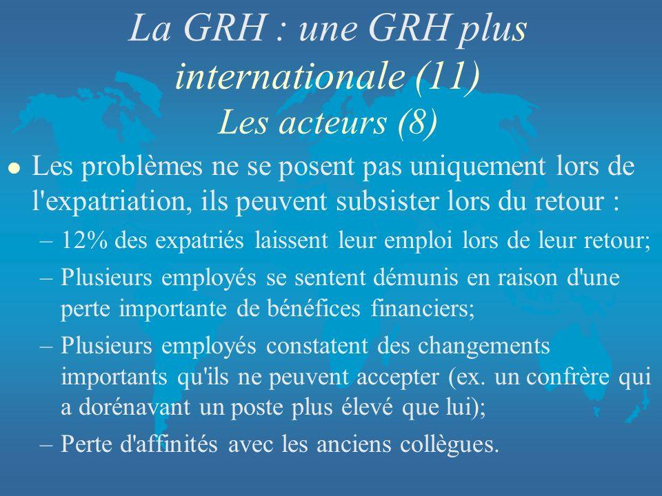La GRH : une GRH plus internationale (11) Les acteurs (8)