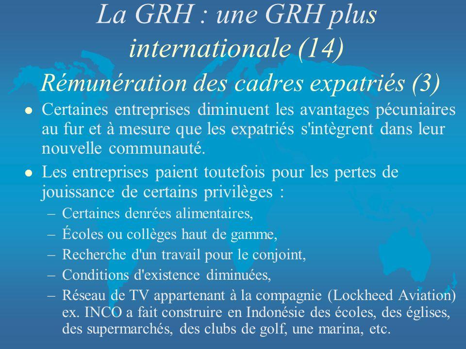 La GRH : une GRH plus internationale (14) Rémunération des cadres expatriés (3)