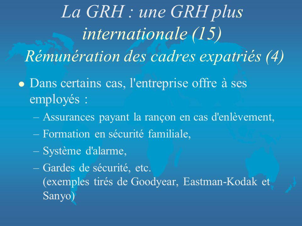 La GRH : une GRH plus internationale (15) Rémunération des cadres expatriés (4)