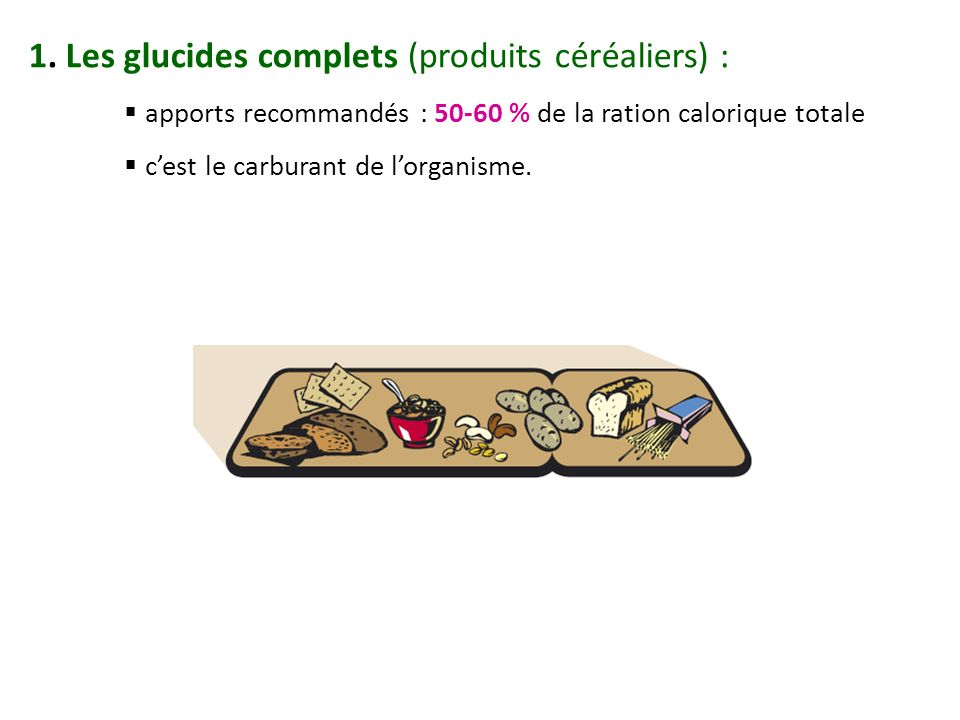 1. Les glucides complets (produits céréaliers) :