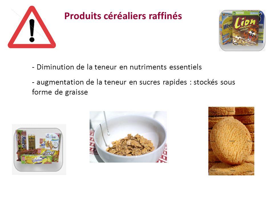 Produits céréaliers raffinés