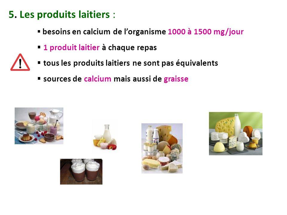 5. Les produits laitiers :