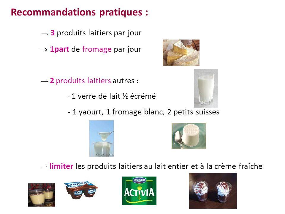 Recommandations pratiques :  3 produits laitiers par jour