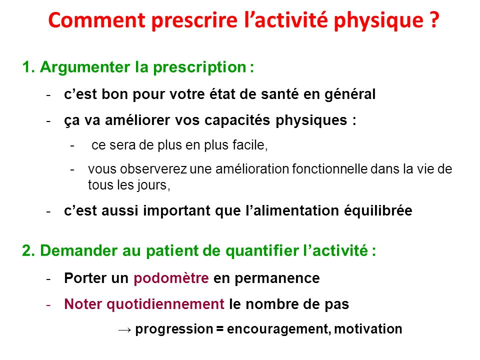 Comment prescrire l'activité physique