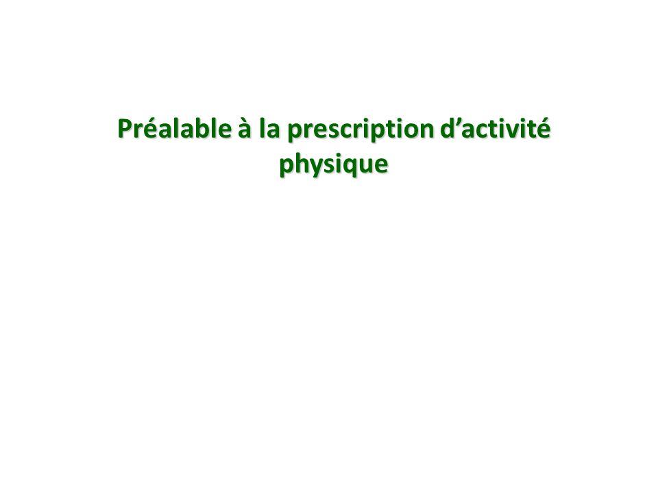 Préalable à la prescription d'activité physique