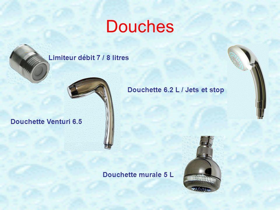 Douches Limiteur débit 7 / 8 litres Douchette 6.2 L / Jets et stop