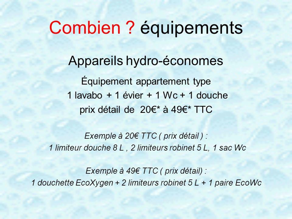 Combien équipements Appareils hydro-économes
