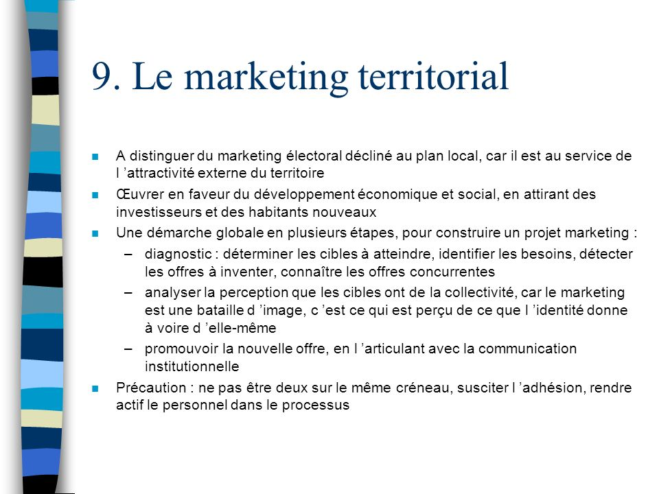 9. Le marketing territorial