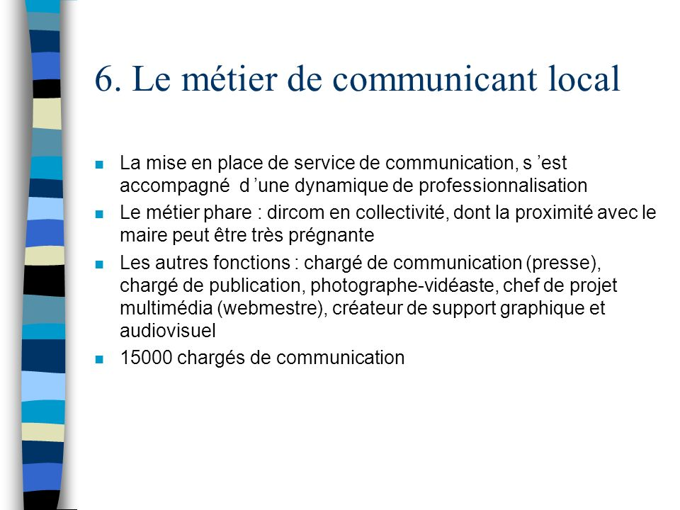 6. Le métier de communicant local