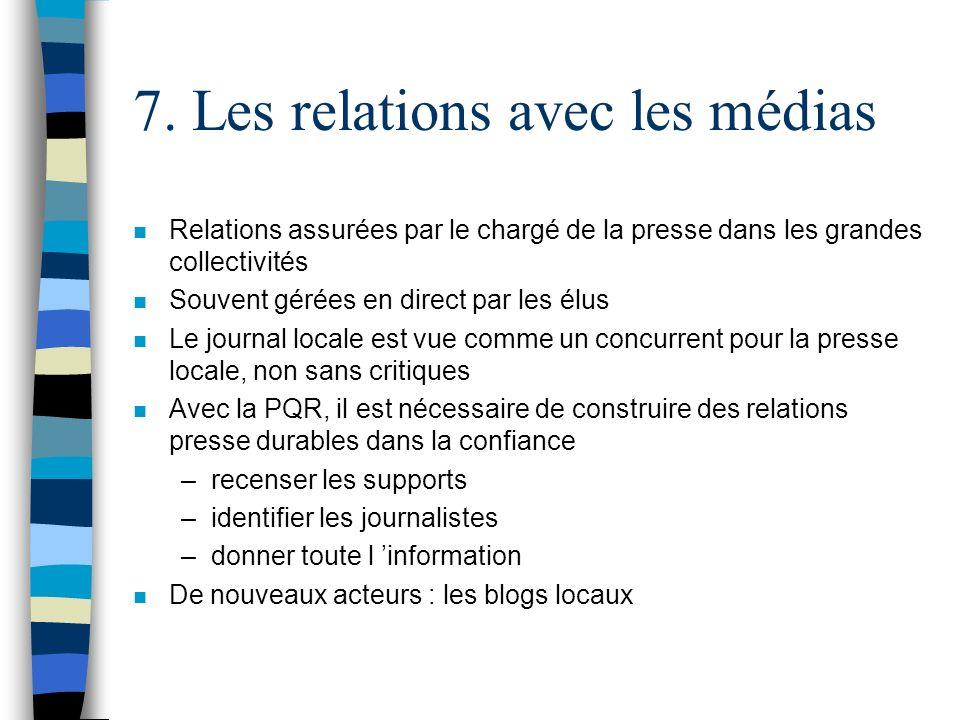 7. Les relations avec les médias