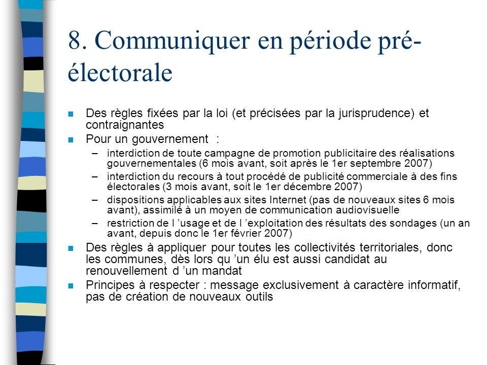 8. Communiquer en période pré-électorale