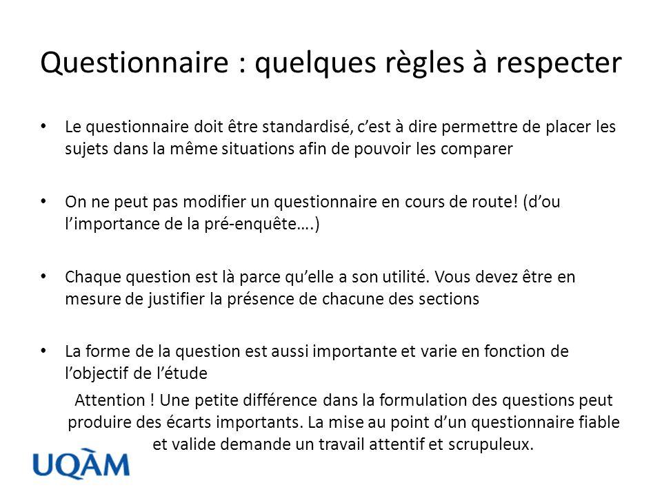 Questionnaire : quelques règles à respecter