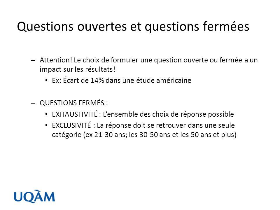 Questions ouvertes et questions fermées