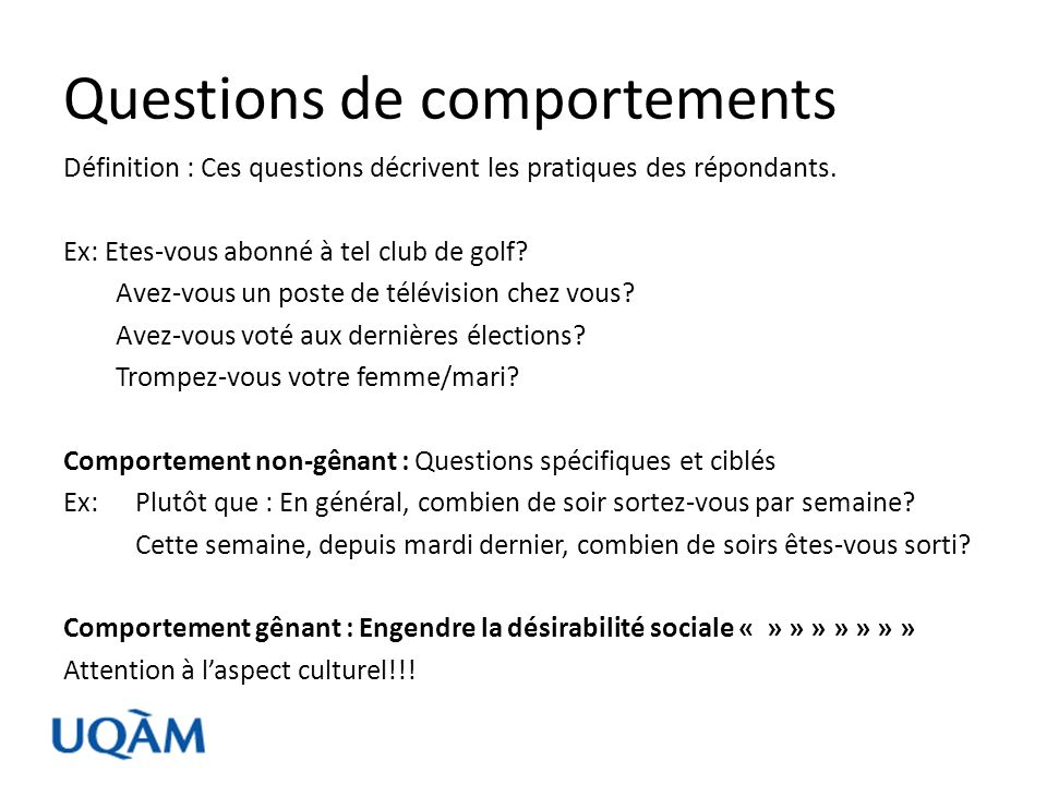 Questions de comportements