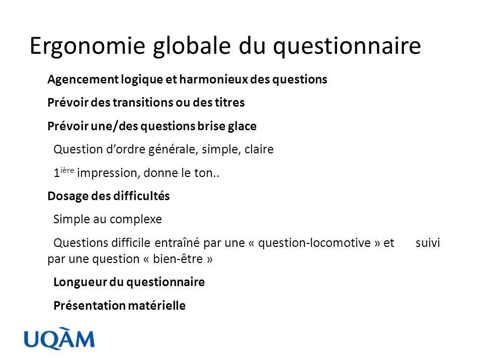 Ergonomie globale du questionnaire