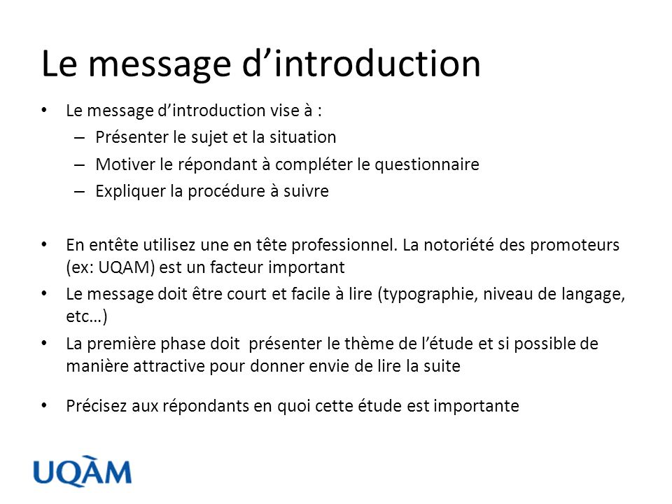 Le message d'introduction