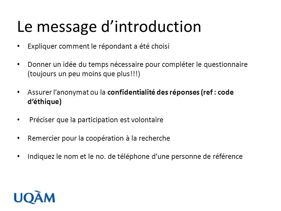 Le message d'introduction