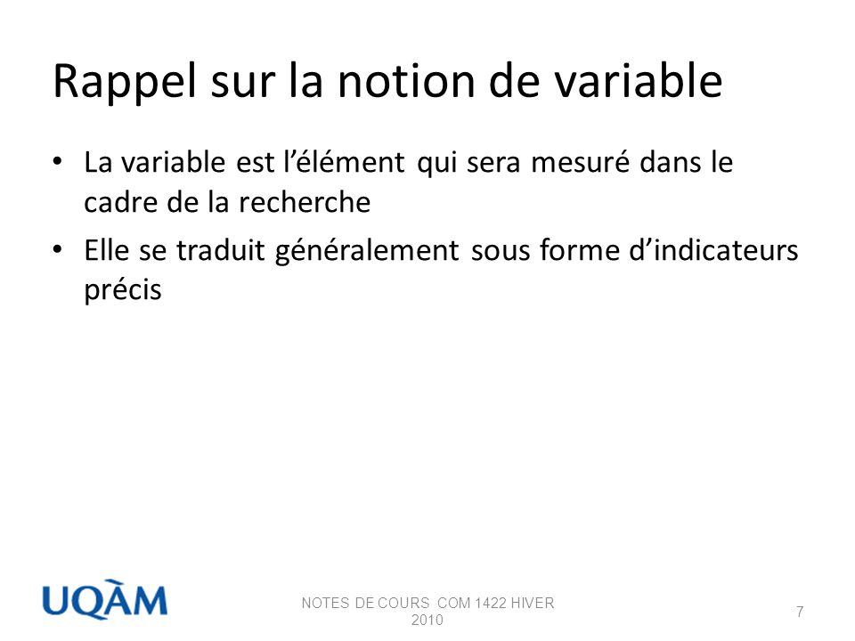 Rappel sur la notion de variable