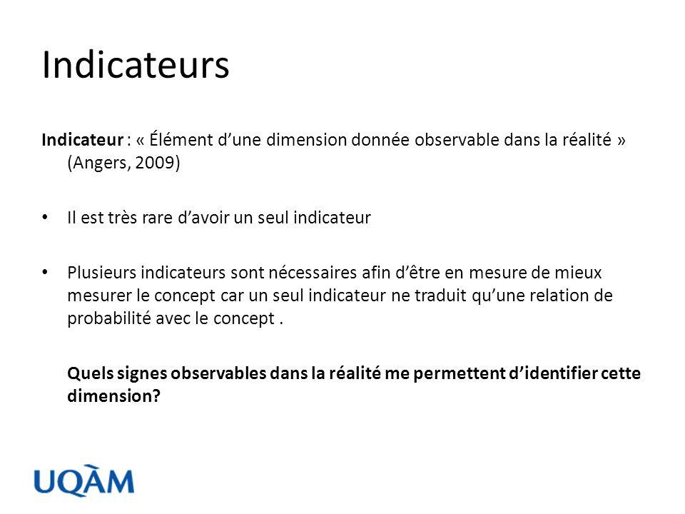 Indicateurs Indicateur : « Élément d'une dimension donnée observable dans la réalité » (Angers, 2009)
