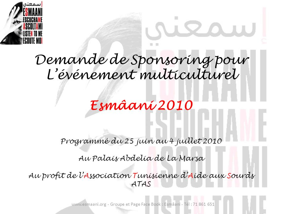 Demande de Sponsoring pour L'événement multiculturel Esmâani 2010