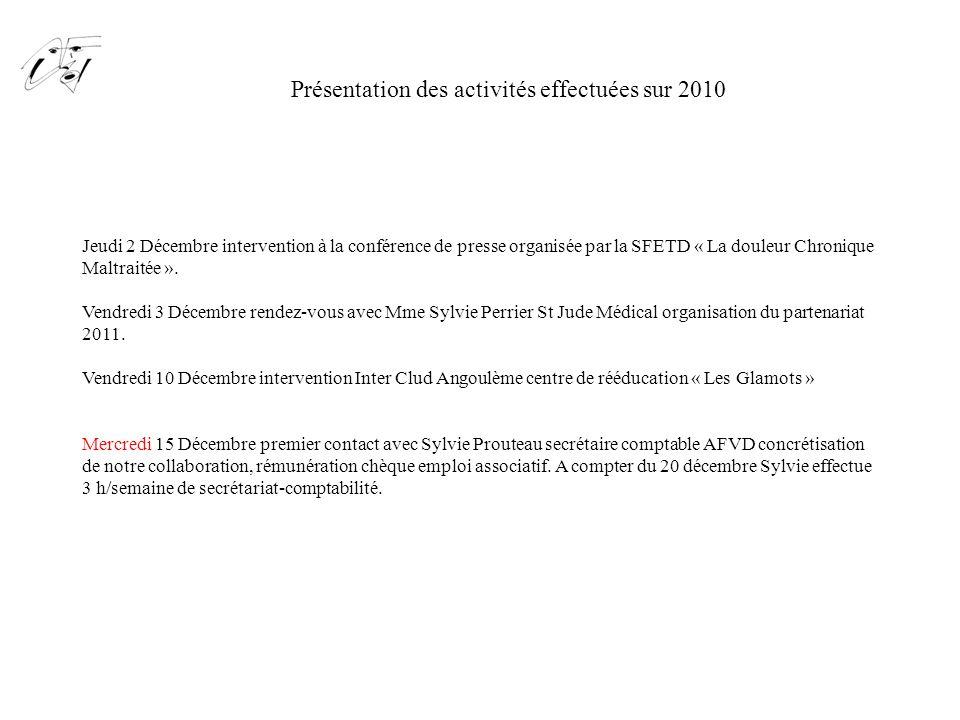 Présentation des activités effectuées sur 2010