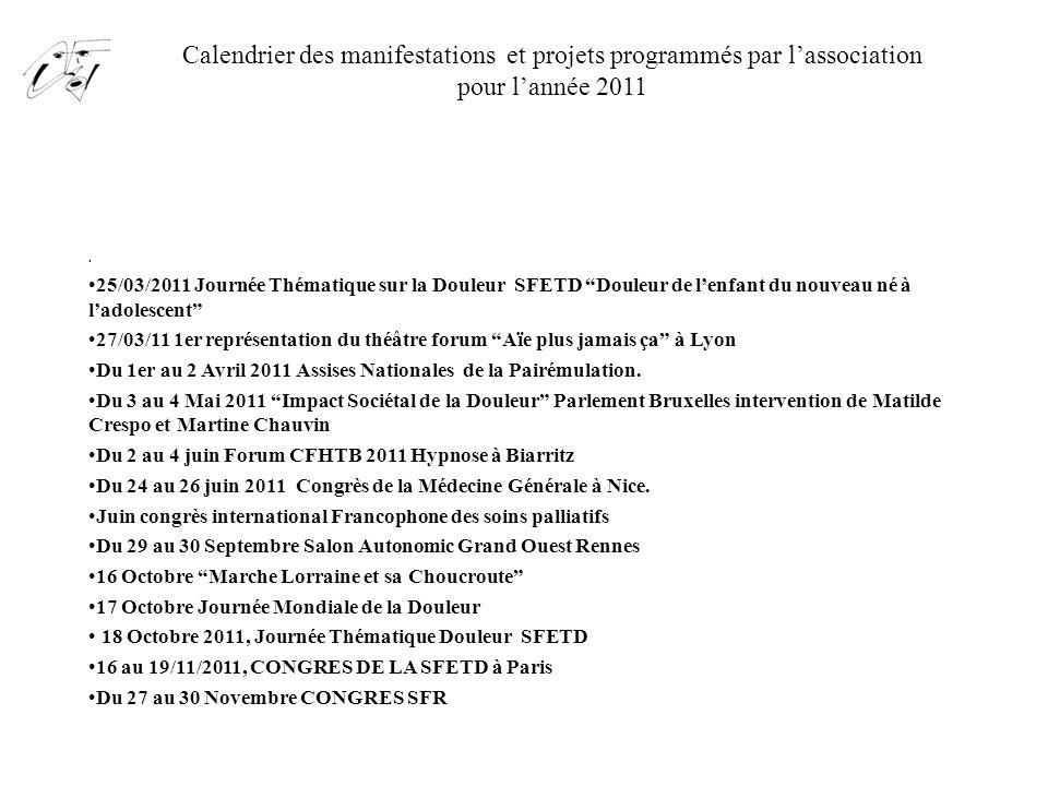 Calendrier des manifestations et projets programmés par l'association pour l'année 2011