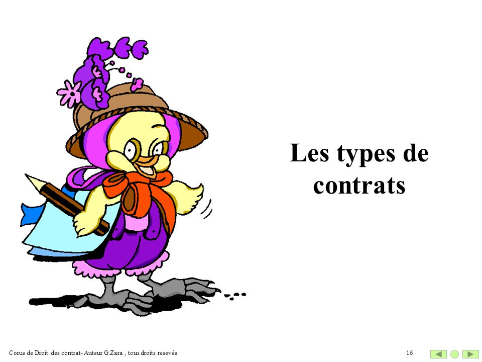 Les types de contrats Corus de Droit des contrat- Auteur G.Zara , tous droits resevés