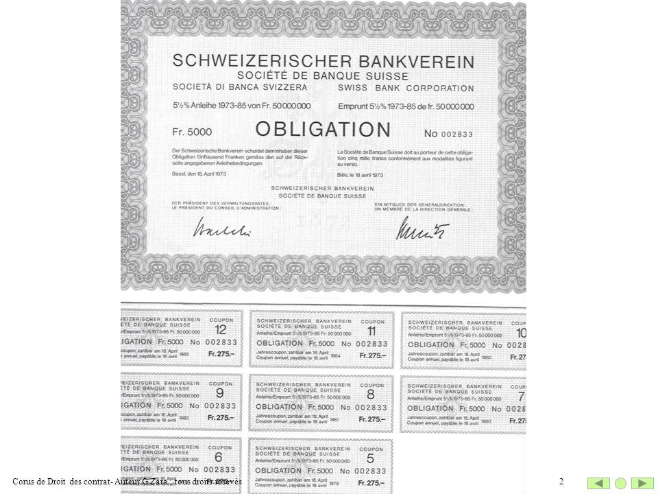 Corus de Droit des contrat- Auteur G.Zara , tous droits resevés