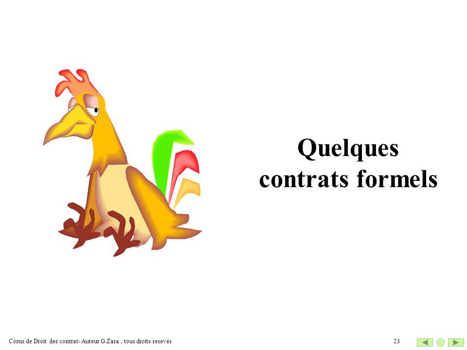 Quelques contrats formels