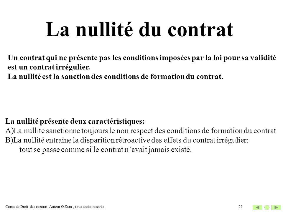 La nullité du contrat Un contrat qui ne présente pas les conditions imposées par la loi pour sa validité.