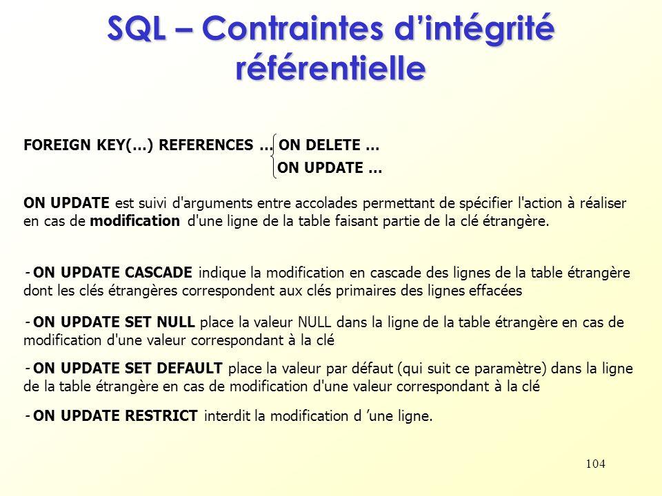 SQL – Contraintes d'intégrité référentielle