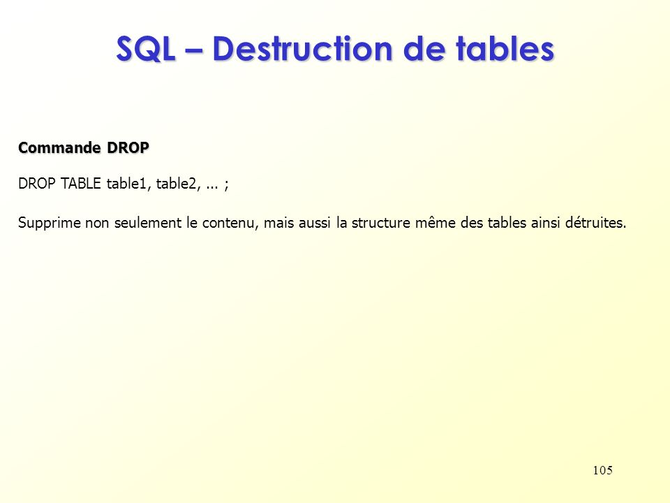 SQL – Destruction de tables