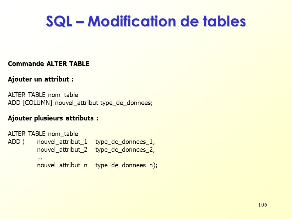 SQL – Modification de tables