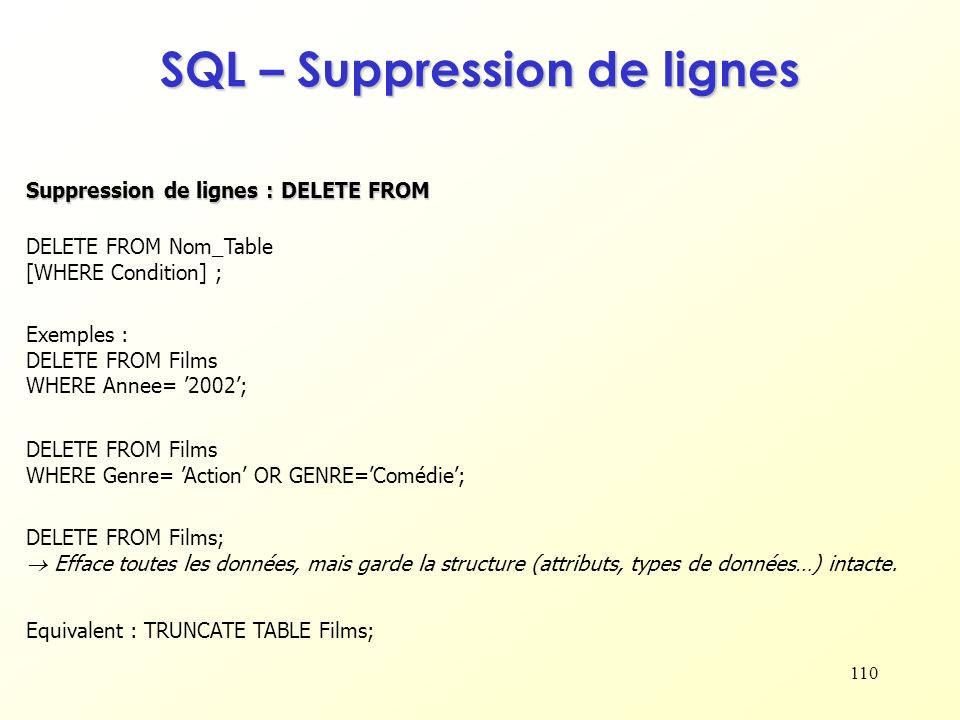 SQL – Suppression de lignes