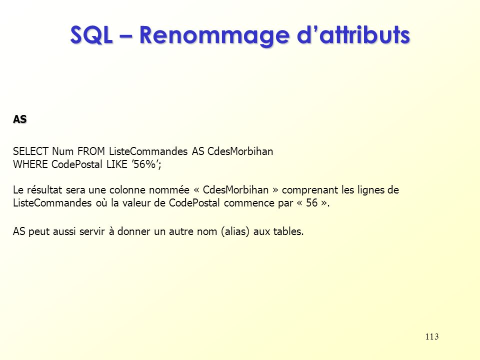 SQL – Renommage d'attributs