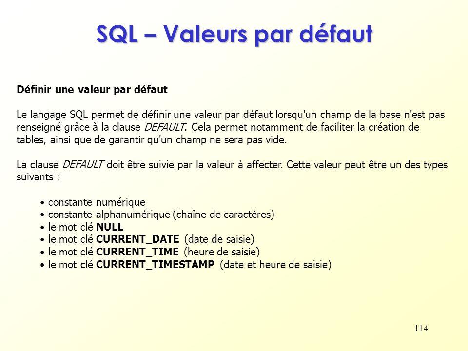 SQL – Valeurs par défaut