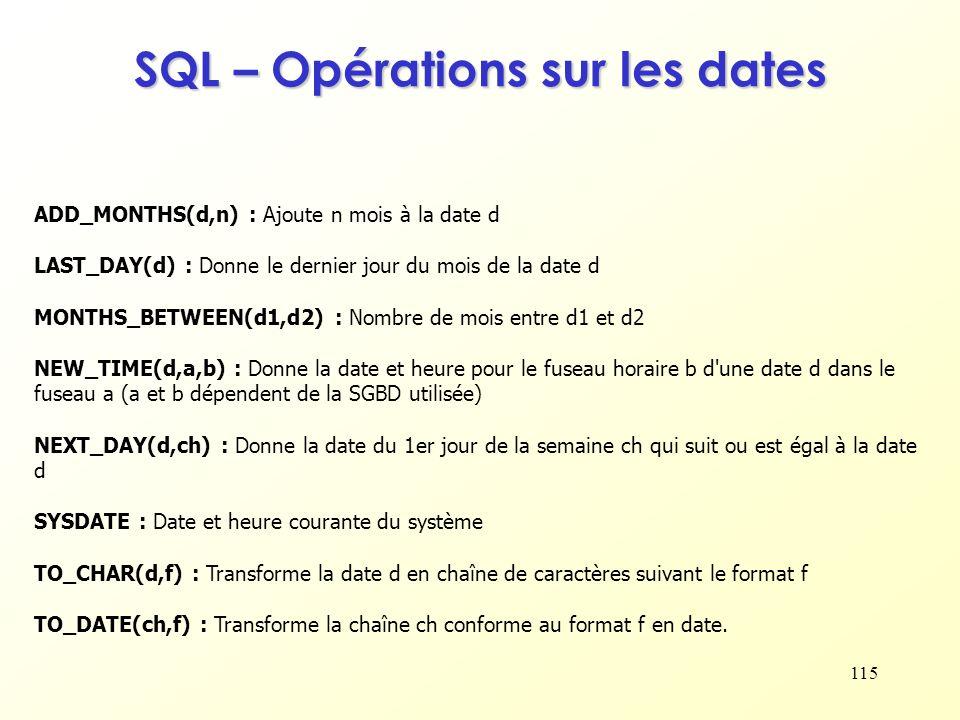 SQL – Opérations sur les dates