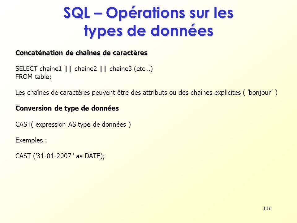 SQL – Opérations sur les types de données