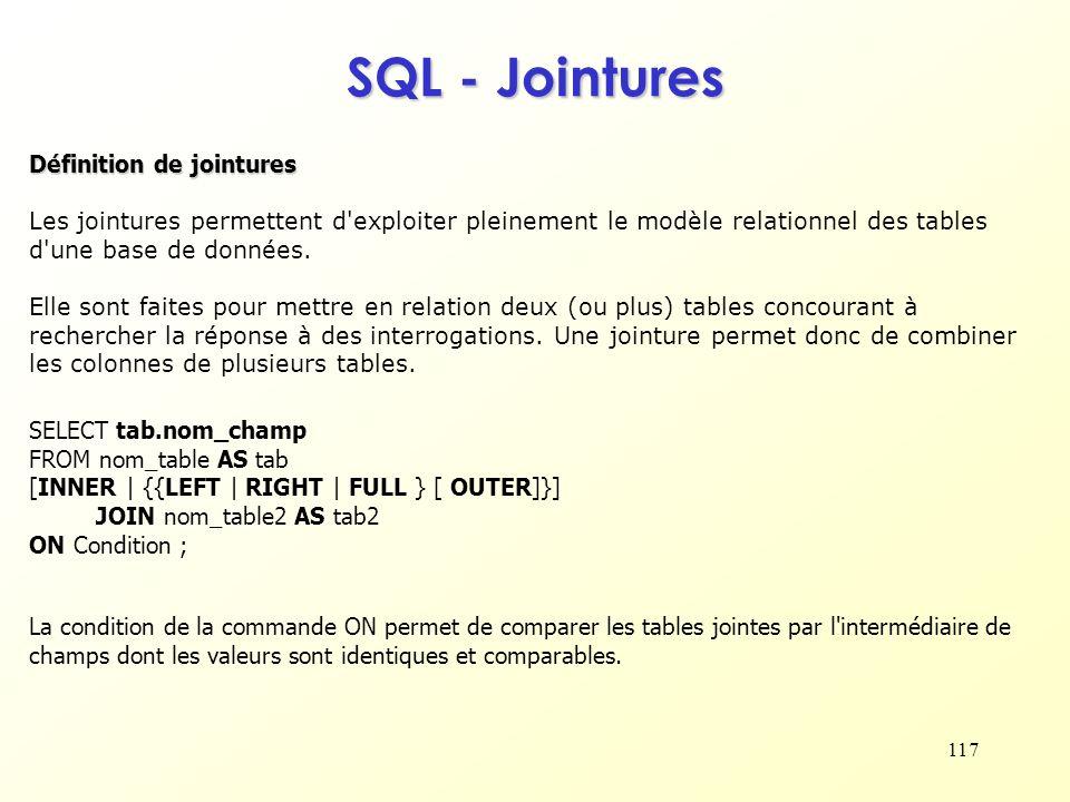 SQL - Jointures Définition de jointures
