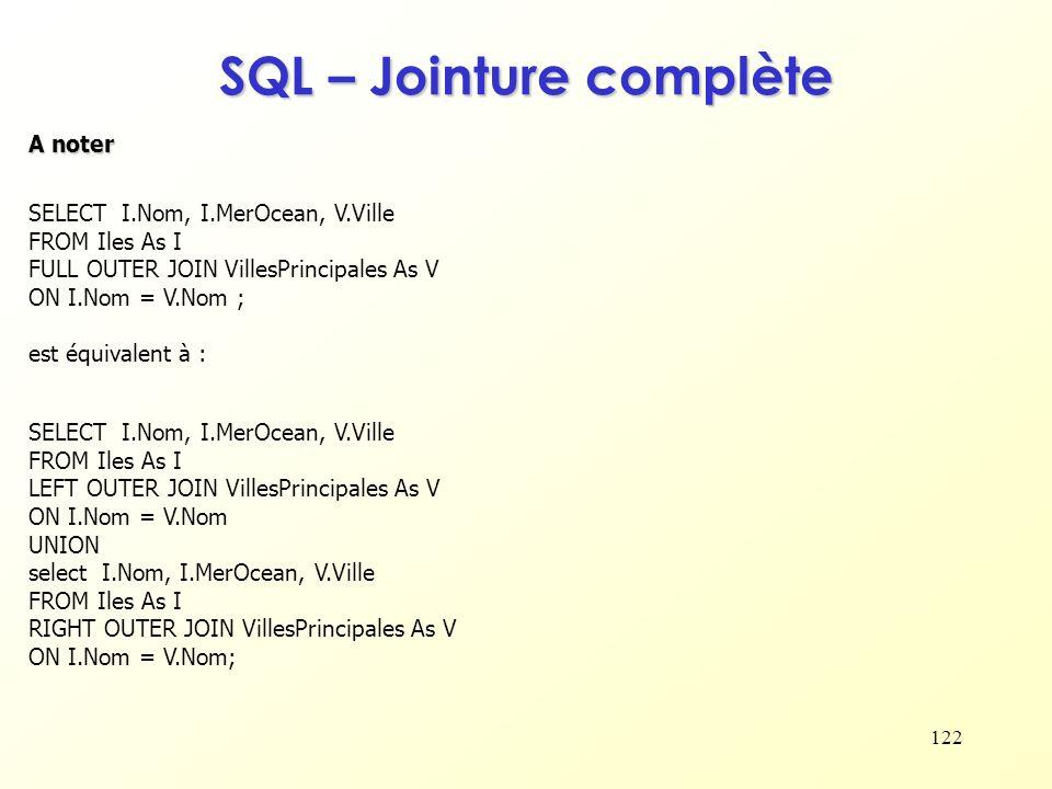 SQL – Jointure complète