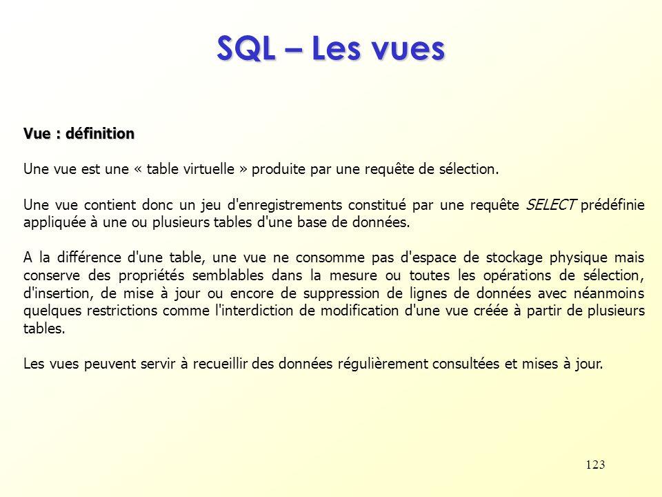 SQL – Les vues Vue : définition
