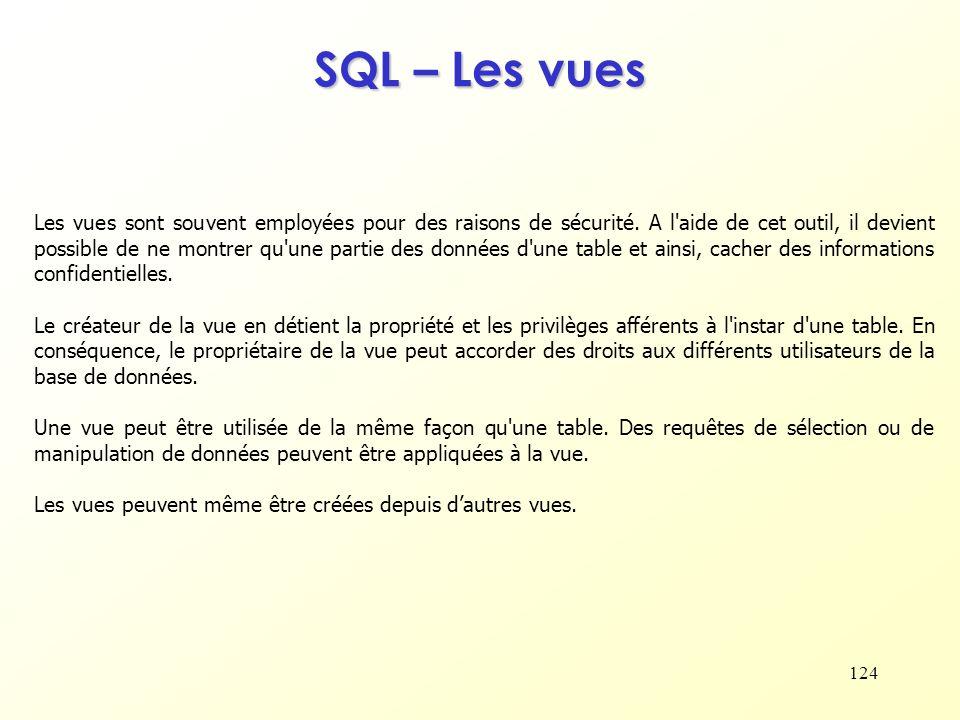 SQL – Les vues