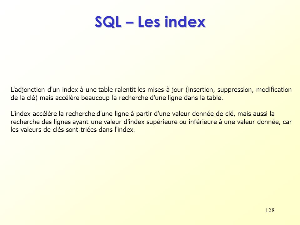 SQL – Les index