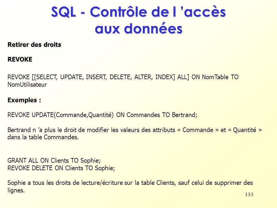 SQL - Contrôle de l 'accès aux données