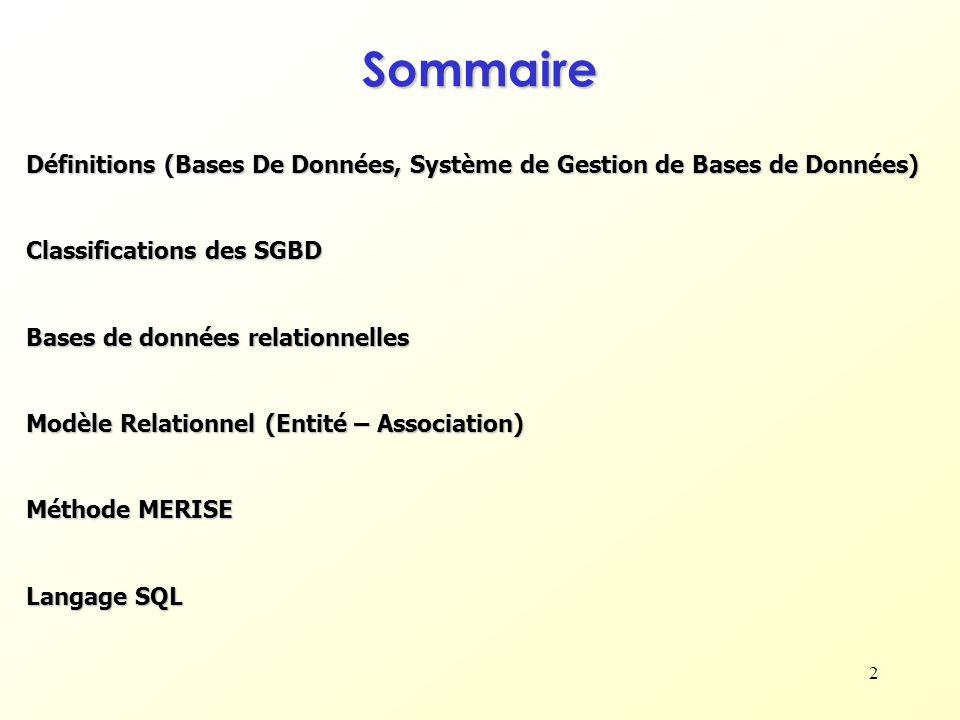 Sommaire Définitions (Bases De Données, Système de Gestion de Bases de Données) Classifications des SGBD.