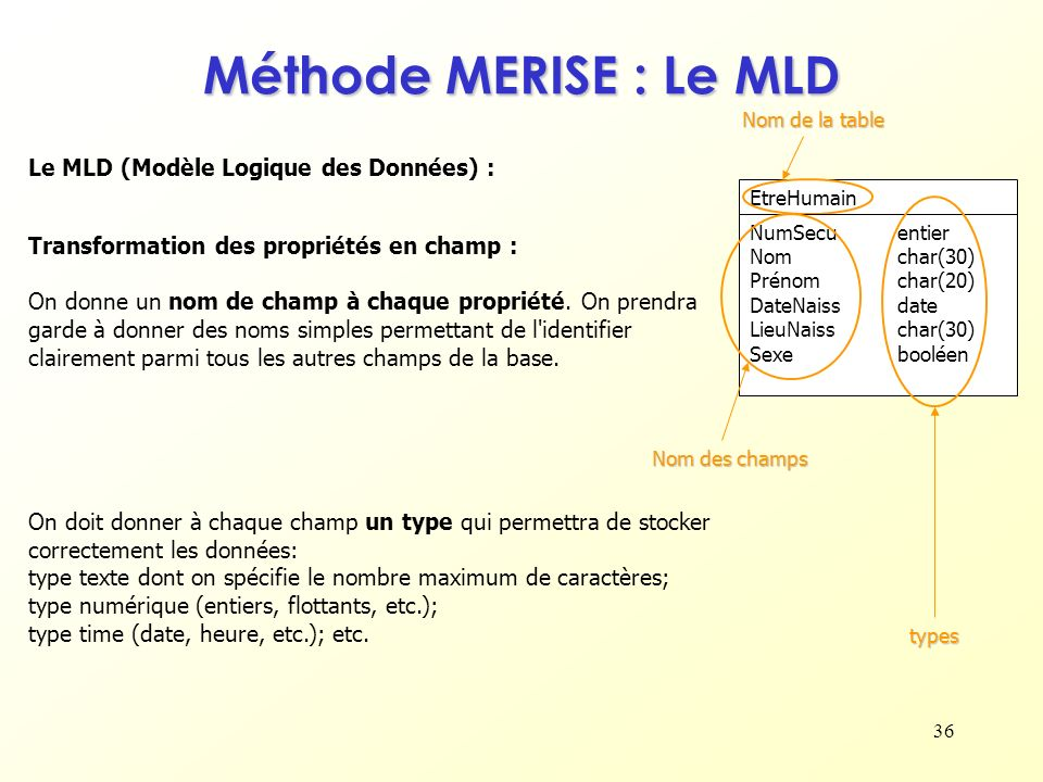 Méthode MERISE : Le MLD Le MLD (Modèle Logique des Données) :