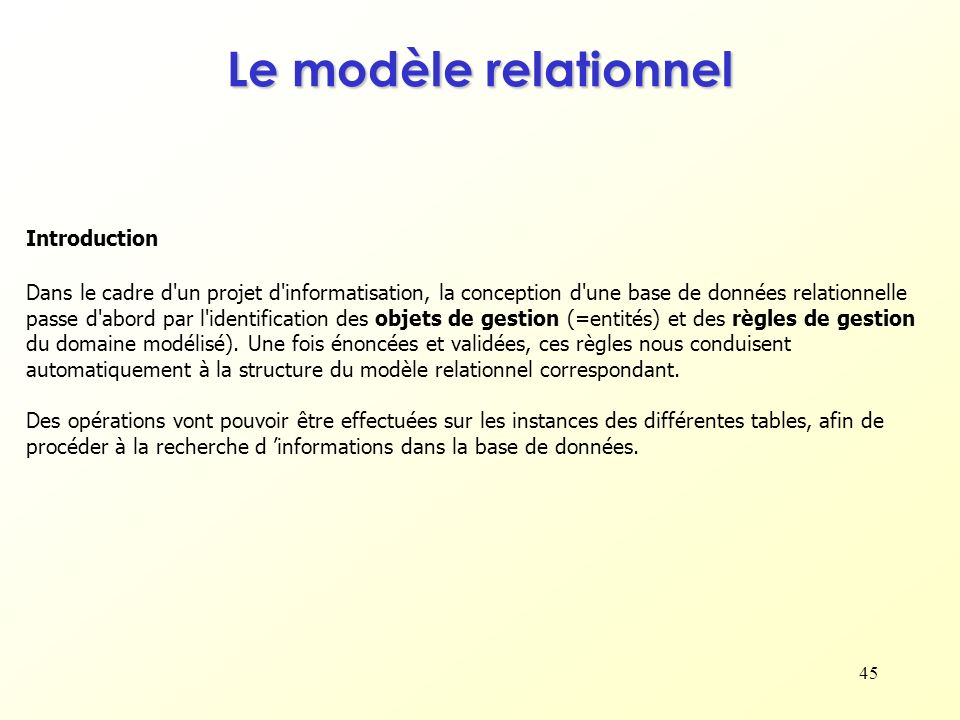 Le modèle relationnel Introduction